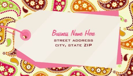 Retro Mod Colorful Paisley and Shopping Tag Retail Business Cards