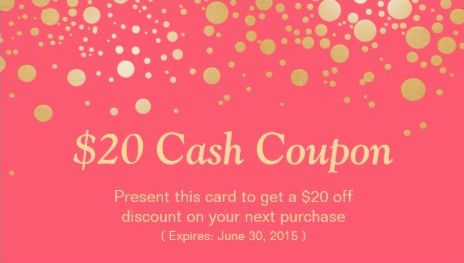 Discount Coupon Card Elegant Pink Coral with Gold Dots Business Cards