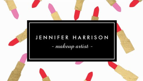 Luxe Pink and Red Glam Lipstick Pattern Makeup Artist Business Cards