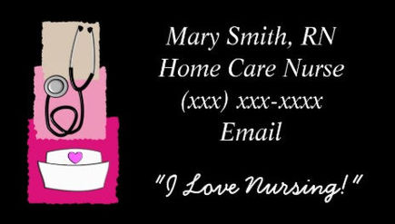 Cute Pink and Black Nursing Equipment Registered Nurse Business Cards