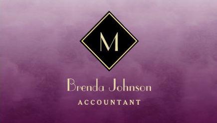 Simple Purple Accountant With Elegant Monogram Business Cards