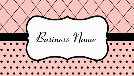 Girly Retro Pink and Black Polka Dot and Diamond Tile Pattern Business Cards