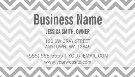 Modern Gray and White Chevron Zigzag Pattern Business Cards