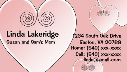 Cute Light Pink Hearts Mommy Contact Information Calling Card Business Cards