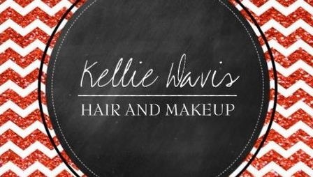 Glamorous Burnt Orange Chevron Glitter Makeup Artist Business Cards