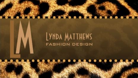 Luxury Brown Fur Leopard Print Monogram Fashion Designer Business Cards