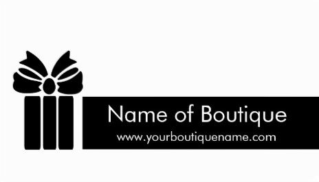 Simple Black and White Boutique With Gift Box and Bow Business Cards