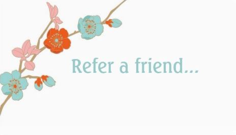 Simple Orange and Teal Orchid Flower Chic Refer a Friend Business Cards