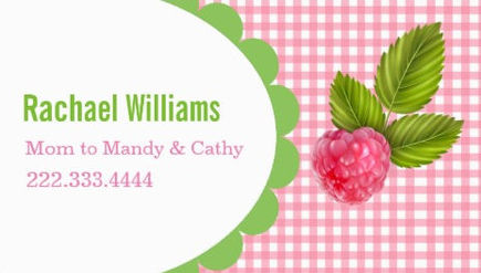 Girly Raspberry and Pink Gingham Mommy Play Date Business Cards