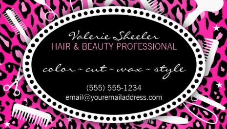 Pink Leopard Print Hair and Beauty Salon Coupon Discount Business Cards