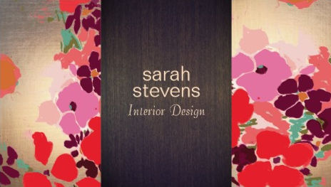 Sophisticated Colorful Floral Interior Designer Wood and Gold Business Cards