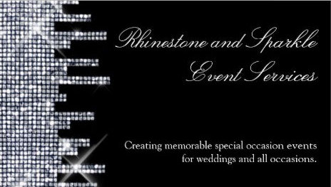 Glittery Black and Silver Sequin Glamour Event Services Business Cards