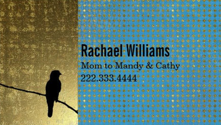 Modern Gold and Blue Bird on a Wire Mommy Play Date Visiting Cards