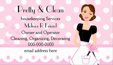 Pretty And Clean Pink Polka Dot Maid Feather Duster Business Cards
