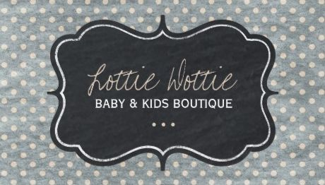 Faded Polka Dots Chalkboard Frame Kids and Baby Boutique Business Cards