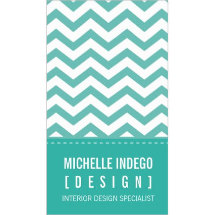 Fresh Teal Mint and White Chevron Pattern Business Cards