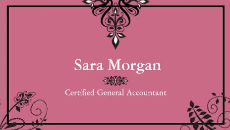 Simple Elegance Pink and Black Filigree Certified Accountant Business Cards