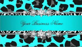 Turquoise Blue Wild Abstract Animal Print Black Jewel Glitz Business Cards