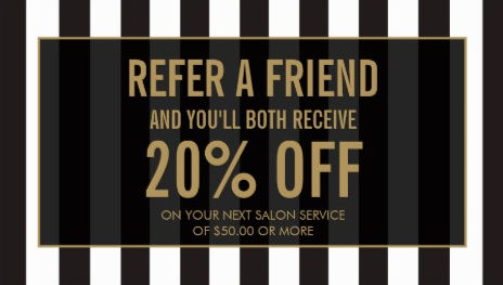 Black and White Stripes Gold Text Salon Referral and Discount Business Cards
