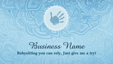 Elegant Soft Blue Paisley With Cute Hand Print Babysitting Business Cards
