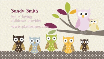 Pretty Polka Dot Owls Cute Bird Child Care Provider Business Cards