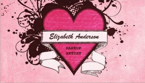 Girly Pink Grunge Heart Cosmetology Makeup Artist Business Cards