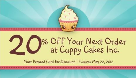 Cute Blue and Yellow Cupcake Bakery Coupon Business Cards