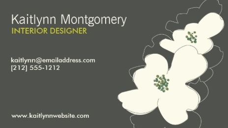 Chic Dogwood Blossoms Interior Designer Ivory Gray Template Business Cards