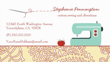 Girly Seamstress And Fashion Clothier Business Cards Girly Business Cards