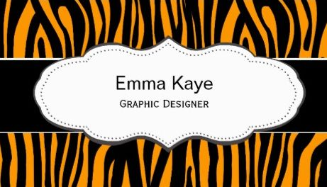 Modern Orange and Black Tiger Animal Print Graphic Designer Business Cards