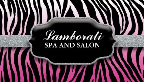 Elegant Gradient Pink and Black Zebra Print Spa and Salon Business Cards