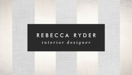 Stylish Striped Faux Gold and Linen Interior Designer Business Cards