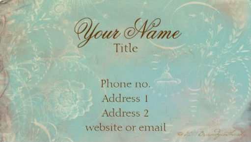 Vintage Grunge French Blue Toile and Elegant Script Business Cards