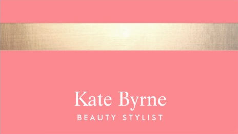 No Shine Gold Stripe Modern Stylish Blush Pink Beauty Stylist Business Cards