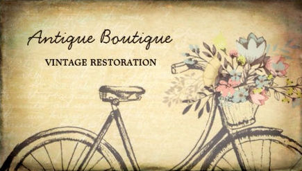 Girly antiques and collectibles business cards girly business cards antique shop vintage restoration flower basket bicycle business cards reheart Gallery
