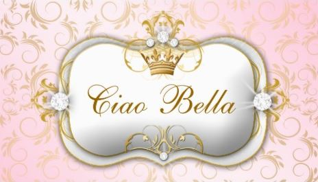 Ciao Bella Golden Divine Pink and Gold Diamond Crown Business Cards