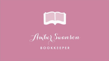 Girly accounting and finance business cards girly business cards plain pink accounting bookkeeper with simple book business cards reheart Images