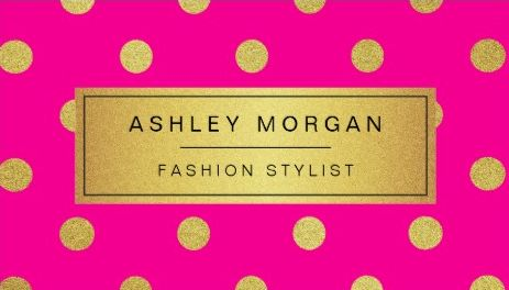 Gold Glitter Polka Dots Stylish Hot Pink Fashion Stylist Business Cards