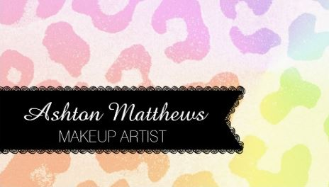Colorful Rainbow Leopard Print Makeup Artist Business Cards