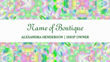Chic Modern Pastel Abstract Floral Shimmer Boutique Business Cards