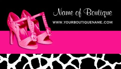 Fashion Boutique Giraffe Print Girly Pink Open Toe Shoes Business Cards