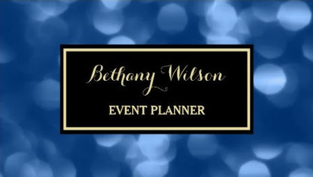 Elegant Event Planner Glamorous Blue Luxe Bokeh Business Cards