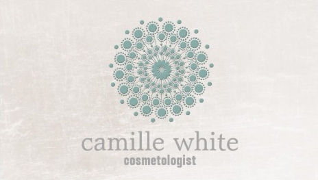 Teal Mandala Circle Neutral Ivory Cosmetology Spa Business Cards