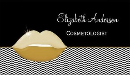 Elegant Black and Gold Chevrons Cosmetology Business Cards