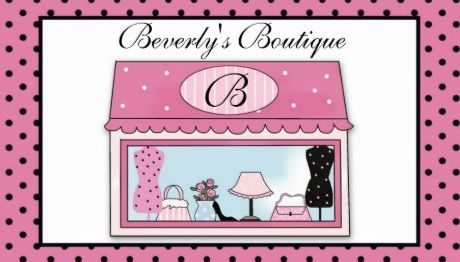 Cute Pink and Black Polka Dot Monogram Shop Window Boutique Business Cards