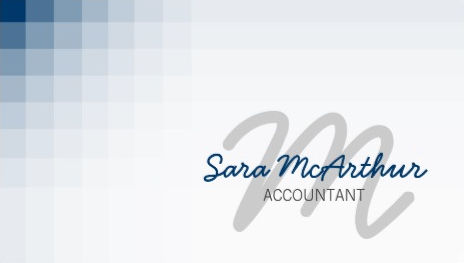 Modern Blue Pixels Accountant Finance Services Monogram Business Cards