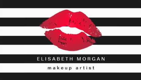 Red Lips Black and White Stripes Modern Makeup Artist Business Cards
