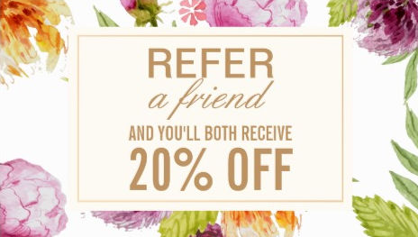 Refer a Friend Beauty Salon Floral Referral Card Business Cards