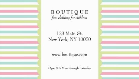 Cute Children Clothing Boutique Pastel Rainbow Stripes Business Cards