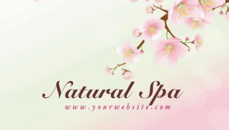 Feminine Pink And White Cherry Blossom Natural Spa Business Cards